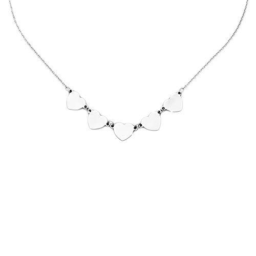 Beloved ❤️ collana girocollo da donna in acciaio con 5 cuori pendenti – lunghezza regolabile, chiusura moschetto ne, ciondoli a forma di cuoricini