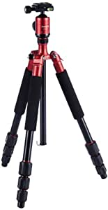 Rollei CT-4A Aluminium Stativ mit 3D-Kugelkopf Tragfähigkeit 8 kg - Arca Swiss kompatibel - Rot
