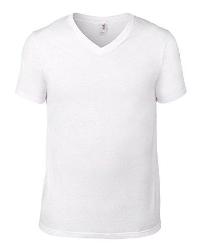 New ERWACHSENE Amboss Rechteckige V-Ausschnitt Fashion Tee Herren Kurz Sleeve Casual tee-top Gr. xxl, Weiß - Weiß (Print Amboss T-shirt)