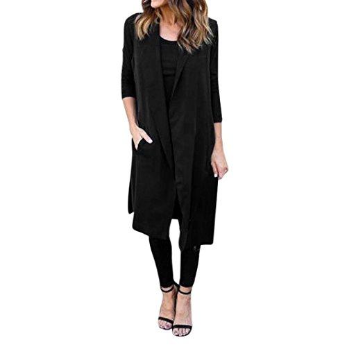 Kolylong® Frauen-dünne Weste-lange Jacke Frau lange Mantel Jacke Windbreaker Frau Strickjacke (S, Schwarz) (Promi-leder-hosen)