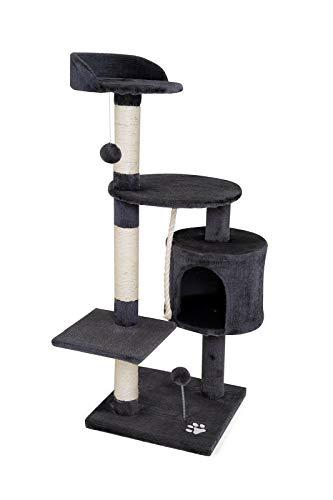 dibea KB00203 Kratzbaum für Katzen, 112 cm Höhe, grau