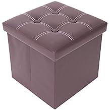 Mobili Rebecca® Puff Baúl Cubo Taburete para almacenaje plegable reposapiés con tapa marrón 30 x 30 x 30 cm (Cod. RE4901)