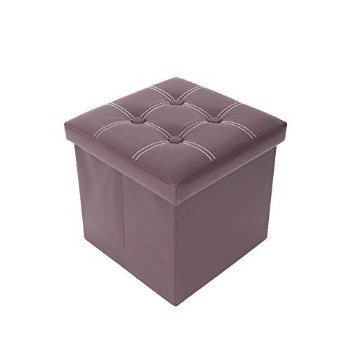 Rebecca Mobili Puff Baúl Cubo Taburete para almacenaje Plegable reposapiés con Tapa marrón 30 x 30 x 30 cm - 30 x 30 x 30 cm (A x AN x FON) - Art. RE4901