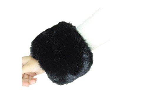Femmes doux poignet poignets poignet Bague chaud en fourrure de renard Noir