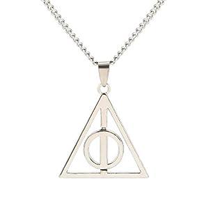 BaubleStar Kette mit Die Heiligtümer des Todes Anhänger Silber Edelstahl Halskette Geschenk Schmuck für Fans