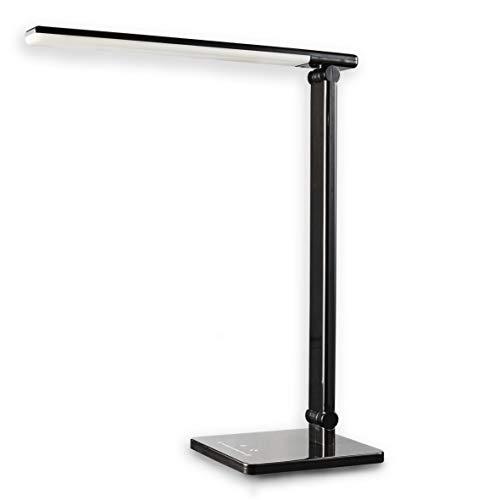 LED lámpara de escritorio USB puerto de carga regulable 7 niveles y 5 temperaturas de color (blanco frío al cálido) del tacto LED de control de lámpara de mesa lámpara lámpara de lectura lámpara de mesa de noche negro LED LED lámpara de mesa lámpara de la