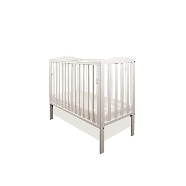 White Tobie Cot/Mini Cot/Space Saver Cot/Compact Cot with Drop Side by Little Babes Ltd + ECO Airflow Heavy Bonded Fibre Mattress 100x50x10cm LITTLE BABES LTD Tobie Space Saver Cot + ECO AIRFLOW Fibre Mattress 100x50x10cm Cot Features: - 3 position mattress base - Drop side - Teething rails - External Dimensions: *Height: approx. 90cm *Width: approx. 57cm *Length: approx. 105cm Cot Complies with British Safety Standards BS EN 716-1: & 2:2008 1