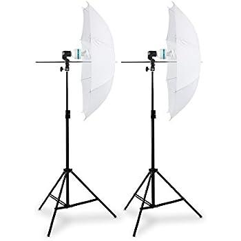 HAUSER & PICARD Lampenschirm-Set weiß | Doppel-Set inkl. Studioschirm mit Fotolicht | Leuchtmittel für Fotostudio und Atelier