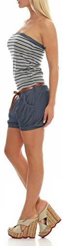 kurzer Marine Jumpsuit im Jeans-Look 9646 Damen One Size (dunkelgrau) - 2