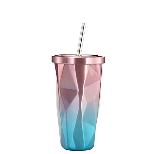 Bicchiere in acciaio inox colorato con tazza in acciaio inox a forma di diamante con nastro sfumato a forma di tazza con vetro per auto in paglia