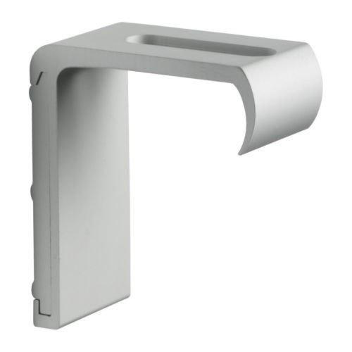 IKEA KVARTAL Wandbeschlag in aluminiumfarben für 3-läufige oder zwei 1-läufige Gardinenleisten