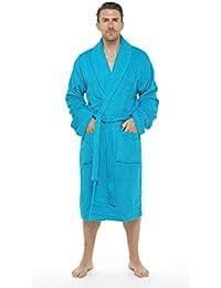 Albornoz para hombre, 100% algodón Terry toalla albornoz bata albornoz perfecto para gimnasio ducha Spa Hotel albornoz vacaciones (talla M/L, L/XL y 2x l–regalo perfecto o regalo de Navidad