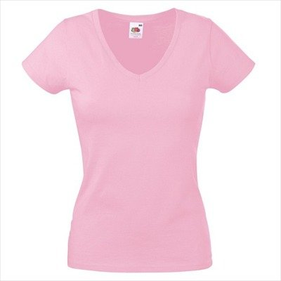 Fruit of the Loom - T-shirt - Col V - Manches courtes - Opaque - Femme Rose - Rose clair