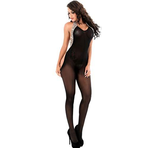 Zhen+ Damen Erotic Reizwäsche Dessous Lingerie Women Open Crotch Bodystockings Perspective Underwear Pajama - Leg Avenue Satin Strumpfband
