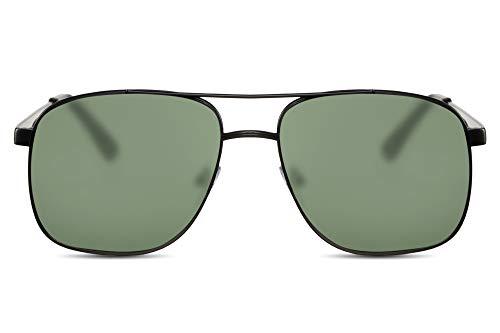 Cheapass Sonnenbrille Herren Schwarz Grün UV-400 Flieger-Brille Macho Metall Männer