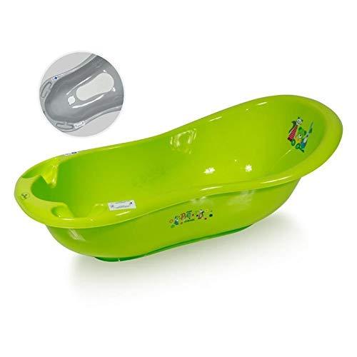 Lorelli Baby Badewanne 100 cm mit Anti-Rutsch-Matte, Wasserablauf, Ablagefächer grün