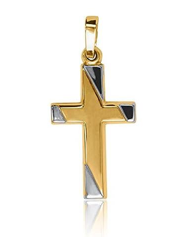 MyGold Kreuz-Anhänger (ohne Kette) Gelbgold Weißgold Weissgold 750 Gold bicolor 28mm x 13mm Mädchen Jungen Taufe Taufgeschenk Kommunion Jenna