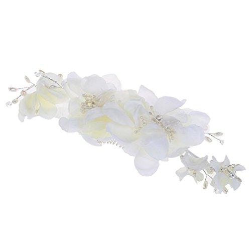 Pince a cheveux - SODIAL(R)Barrette avec perles fleurs de mariage pour mariee clip a cheveux bijoux de mariee bijoux de cheveux