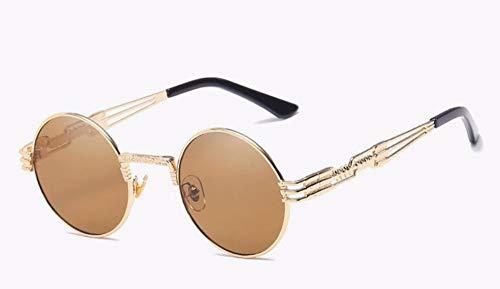 WSKPE Sonnenbrille Sonnenbrille Männer Frauen Brillen Aus Metall Runde Schattierungen Sonnenbrillen Spiegel Uv400 Brillen (Gold Gerahmt/Objektiv)