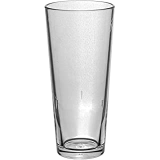 Roltex Set of 6 Tao SUPER DELUXE unbreakable,reusable plastic long drink glasses, (Volume 35cl) heavy weight (140gm) crystal clear (Max Diameter 70mm, Height 160mm)
