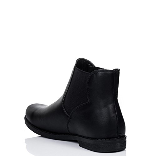 SPYLOVEBUY MAXIMO Femmes Plates Chelsea Boots Bottines Noir - Similicuir