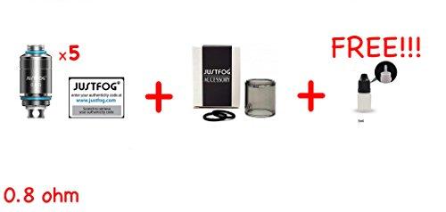 [GARANZIA 100% AUTENTICO] Confenzione 5 Pz. ORIGINALI JUSTFOG FOG 1 Resistenza 0.8 ohm / 0.5 ohm per JUSTFOG FOG1 Resistenze + 1 JUSTFOG FOG1 Tank pyrex + 1 bottiglia vuota eliquid 5ml DansLesVapes® OFFERTI