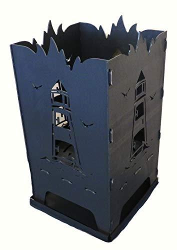 Design Feuerkorb Feuerschale aus Stahl Leuchtturm 40 x 40 x 80 cm