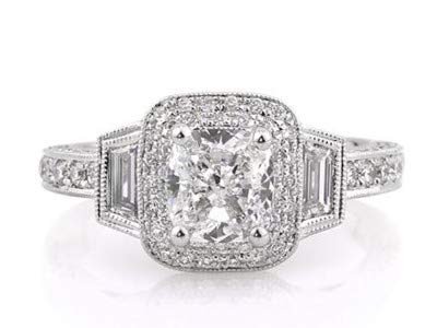 2,20 Karat Solitaire Cushion Cut Diamant Wome Ringe Engagement 14K Solid White Gold Ring Schmuck Größe 56 (17,8)