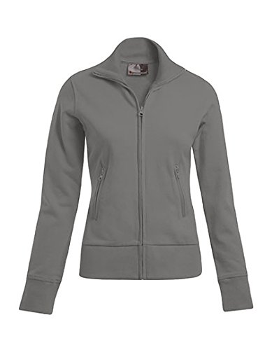 Veste col montant Femme Sweat Jacke Sweatshirt Light Grey