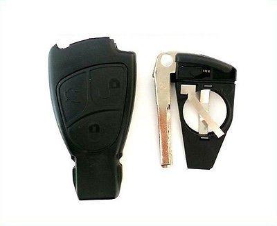 Preisvergleich Produktbild Ersatz Schlüsselgehäuse für Mercedes Benz W168 W202 W203 W208 W210 - A C B E CLK SL ML SLK CLS S Klasse (3 Tasten + Batteriefach u. Bart)