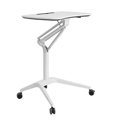 SONGMICS höhenverstellbares Stehpult, Laptoptisch, mobil mit Rollen, auch als Sitzpult geeignet, Weiß LAD02WT