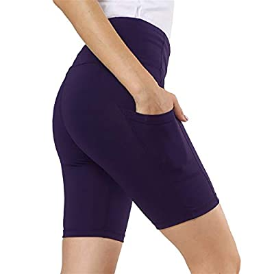 Ogeenier - Women's Running Shorts with Pockets Yoga Shorts Gym Shorts for Women High Waist Tummy Control Fitness Tights Cycling Workout Shorts
