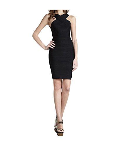 Whoinshop anteriore senza maniche, da donna, con fascia per abito da sera Bodycon Nero