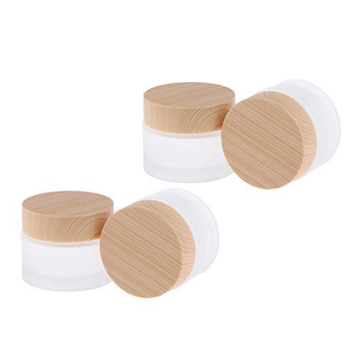B Blesiya 4 Stück Glas-Tiegel Leere Creme Glas-Dose, Salbentiegel, Kosmetik-Dose Kosmetik Behälter mit Holz Schraubdeckel