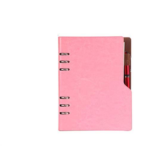 VQEWZ Notebook A5 B5 Leder Bullet Journal Jährliche Planer Spirale Agenda Persönliches Tagebuch Binder Pocket Organizer Für Schreibwaren Pink