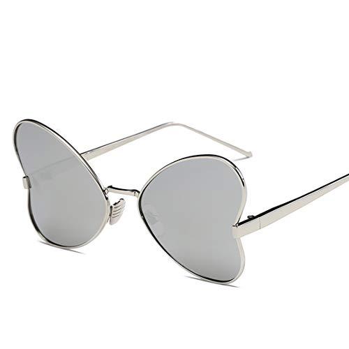 Yiph-Sunglass Sonnenbrillen Mode Umrandete Sonnenbrille UV-Schutz Persönlichkeit Sonnenbrille for Frauen Unregelmäßiger Metallrahmen Polarisierte Sonnenbrille (Farbe : Silver Frame White Mercury)