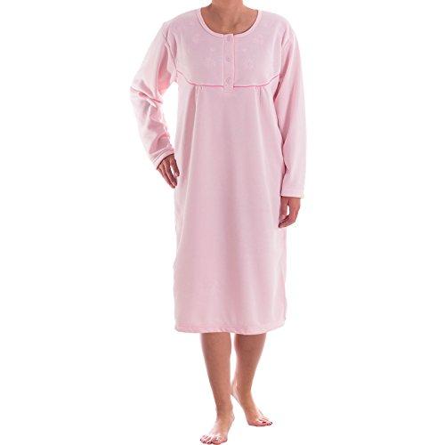 Romesa Thermo Nachthemd - angerauht unifarbend mit hochweritiger Stickerei, kuschlig warm, Größe:L;Farbe:Rosa (Nachthemd Seide Rosa)