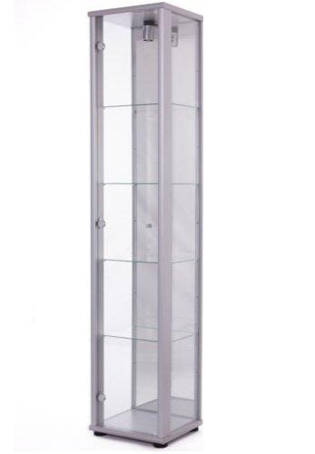 K-Möbel Standvitrine Glasvitrine Spiegel Beleuchtung Vitrine Silber Alu mit Spiegel