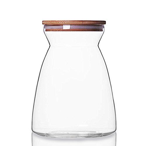 Censun - barattolo in vetro per alimenti, per biscotti, tè, caffè, zucchero, con coperchio ermetico in bambù, vetro bambù vetro borosilicato, 1000ml
