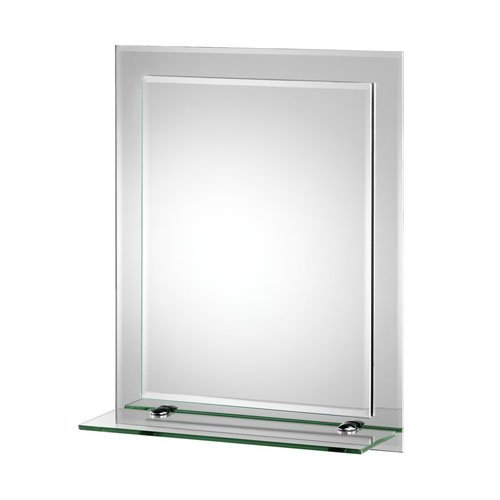 Croydex Rydal Rectangular Mirror with Shelf and Hang N Lock Fitting System, 500 x 400 x 120mm Best Price and Cheapest