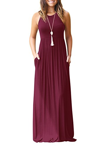 Bequemer Laden Damen Ärmellos Casual Baggy Maxi Party Lange Kleider Weinrot-XL Lange Party-kleid