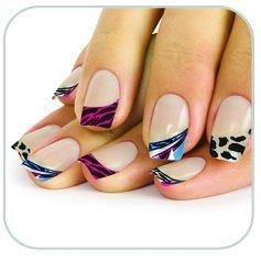 Faux ongles zébrés multicolores