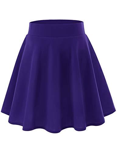 YOYAKER Jupe Short Femme Mini Courte évasée Taille élastique Haute pour Casual en Polyster Purple 2XL