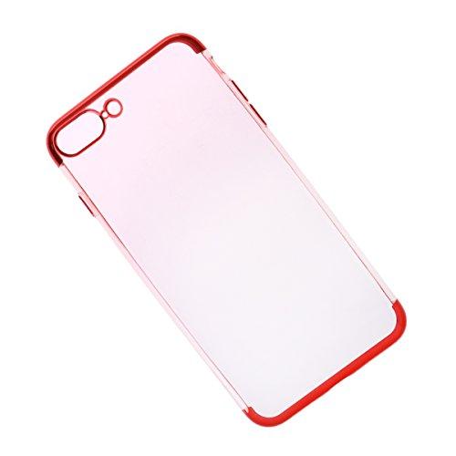 UKCOCO iPhone 8 Plus Hülle Ultra Slim Crystal Clear Schutzhülle Telefonabdeckung kratzfest stoßfest Galvanotechnik Flexible weiche TPU Handyhülle (rot) (Crystal Polster-tasten)