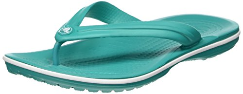 Crocs Crocband Flip Flop, Green (Tropical Teal/White), 6 UK Women / 5 UK Men (8 US Women / 6 US Men)