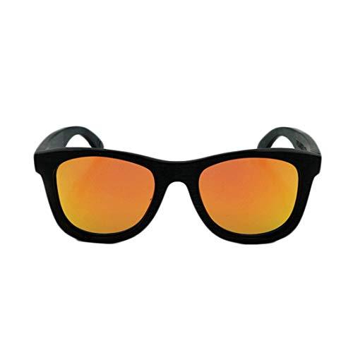 Yiph-Sunglass Sonnenbrillen Mode Vintage Full Frame Ecologic Schwarz Bambus Sonnenbrille Farbige Linse UV400 Schutz Für Männer Frauen. (Farbe : Orange)