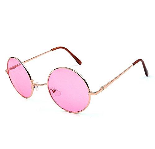Ansenesna Männer Frauen Runde UV Sonnenbrille Vintage Spiegel Sonnenbrille Brillen Outdoor Sports Glasse (Rosa)