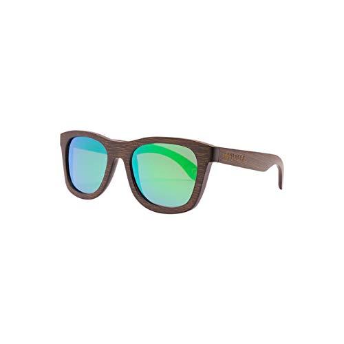 Bambus-Sonnenbrille mit Brillen-Etui, polarisiert - UV400 - verschiede Farben und verspiegelte Gläser, mit Bügeln aus Bambus | UV-Schutz (Complete-Grün)