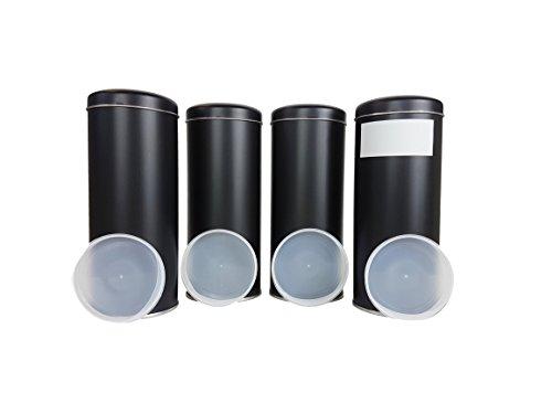 4 Edle Vorratsdosen Luftdichter Verschluss inkl. Etiketten für Kaffeebohnen/-Pulver, Kaffeepads,...