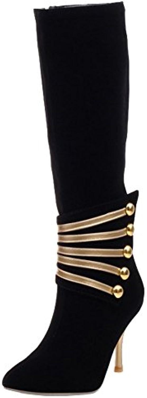 HiTime Botas plisadas de Piel Mujer, Color Negro, Talla 43